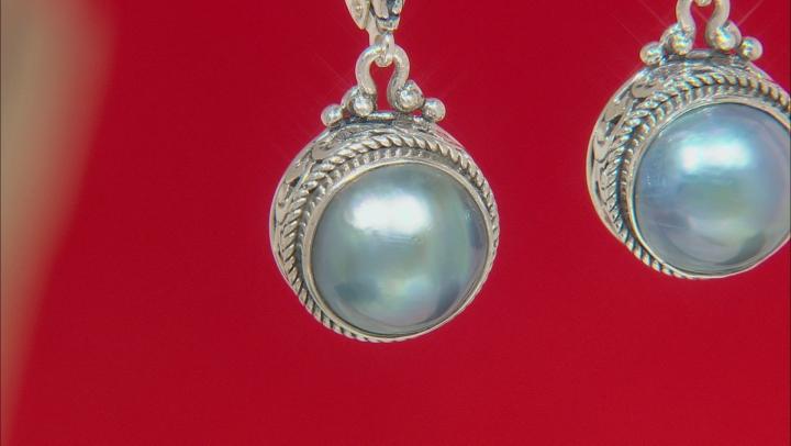 Blue Mabe Pearl Silver Earrings