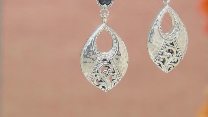 Black Spinel Silver Earrings 2.22ctw