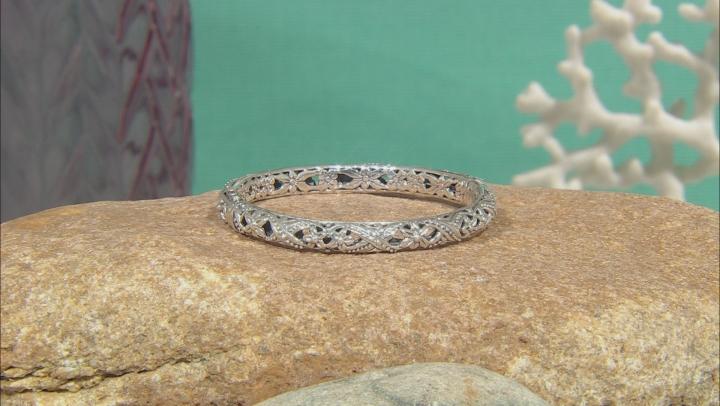 Sterling Silver Floral Bangle Bracelet