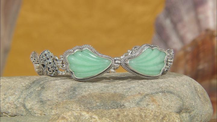 Green Quartzite Silver Bracelet