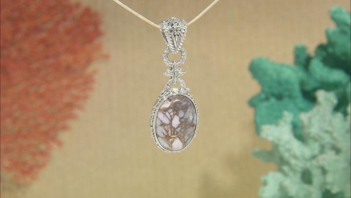 Pink Opal Mosaic Sterling Silver Pendant