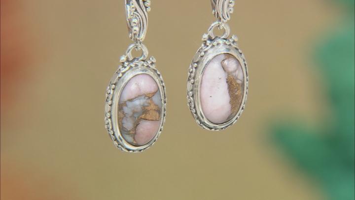 Pink Opal Mosaic Sterling Silver Earrings