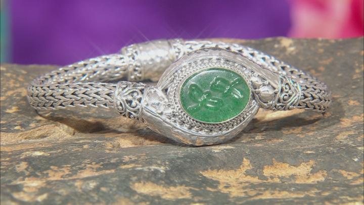 Green Kiwi Quartz Silver Bracelet