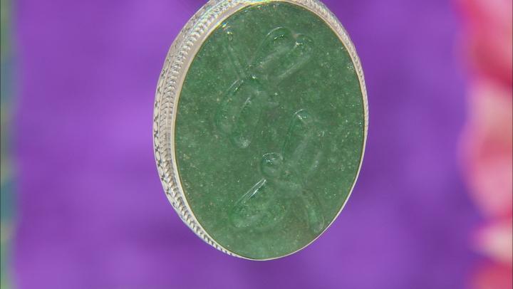 Green Kiwi Quartz Silver Pendant