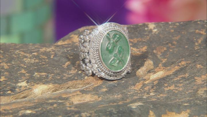 Green Kiwi Quartz Silver Ring