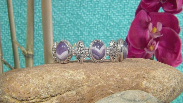 Purple Dogtooth Amethyst Silver Bracelet