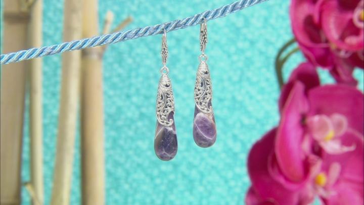 Purple Dogtooth Amethyst Silver Earrings
