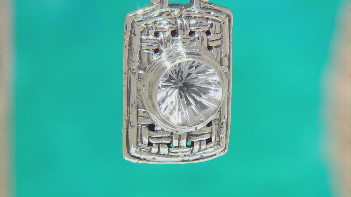 White Quartz Silver Basket Weave Design Pendant 5.27ctw