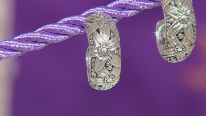 Sterling Silver Floral Huggie Hoop Earrings