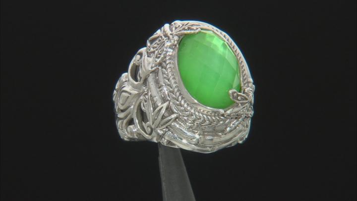 Green Tsavorite Color Quartz Triplet Silver Ring