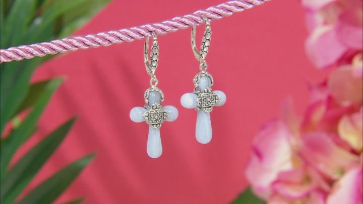 Blue Lace Agate Sterling Silver Cross Dangle Earrings