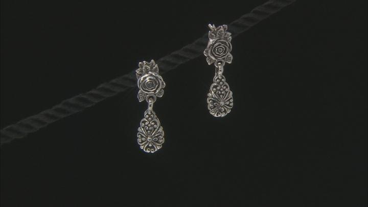 Sterling Silver Rose Dangle Earrings