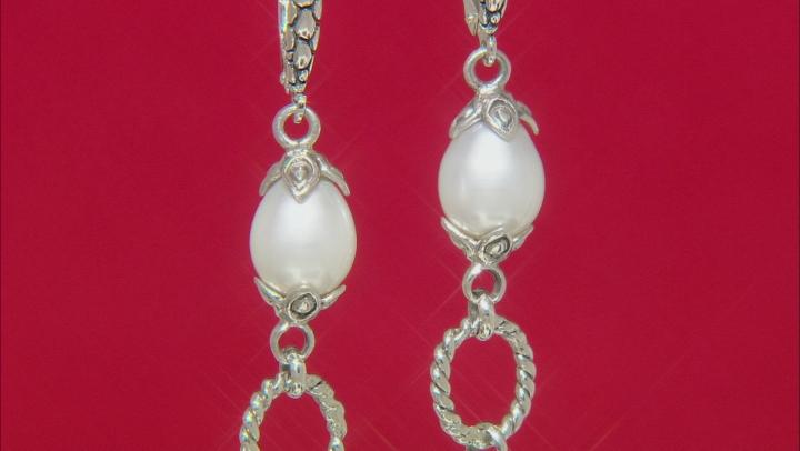 White Cultured Freshwater Pearl Silver Dangle Earrings