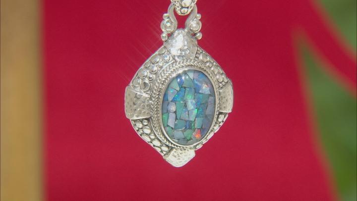 Mosaic Opal Doublet Sterling Silver Pendant
