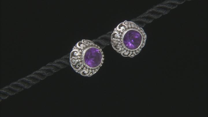 Purple Brazilian Amethyst Sterling Silver Earrings 1.57ctw