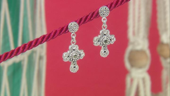 Moldavite Sterling Silver Cross Dangle Earrings 0.28ctw