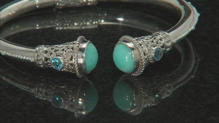 Blue Amazonite Sterling Silver Bracelet .40ctw