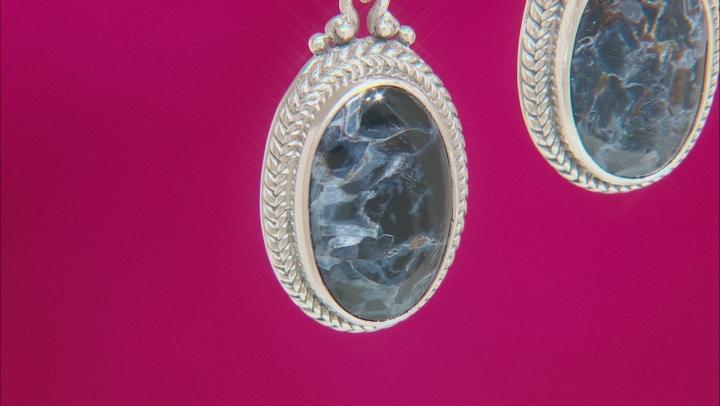 Pietersite Cabochon Sterling Silver Dangle Earrings