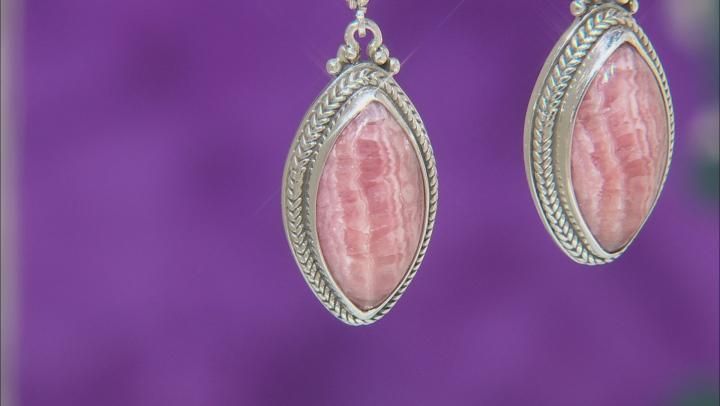 Marquise Rhodochrosite Sterling Silver Dangle Earrings
