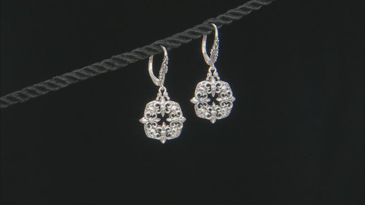 Sterling Silver Fleur De Lis Dangle Earrings