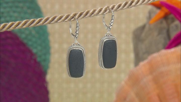 Volcanic Rock Silver Dangle Earrings