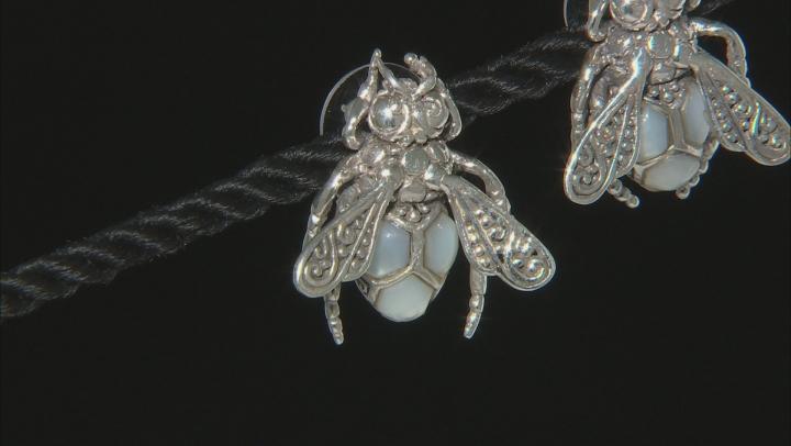 White Shell Sterling Silver Bee Stud Earrings