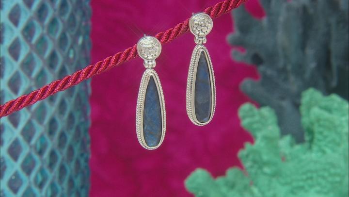 Labradorite Doublet Sterling Silver Dangle Earrings