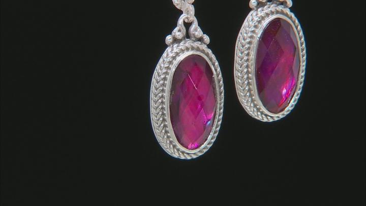 Purple Abalone Triplet Silver Earrings