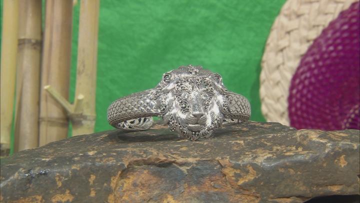 "White Zircon Silver ""Be Courageous"" Lion Bracelet 0.12ctw"