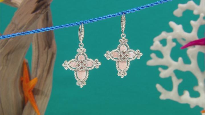 Pink Mother Of Pearl Cross Silver Dangle Earrings