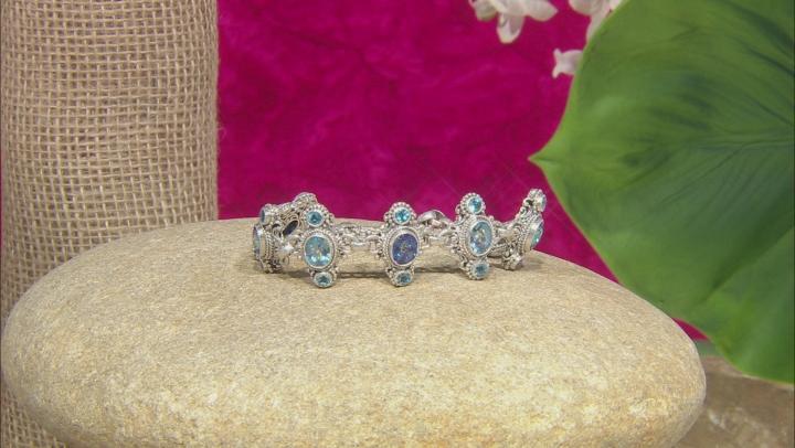 Peter Pan Green™ & Razzmatazz™ Quartz, Swiss Blue Topaz Silver Bracelet 15.30ctw