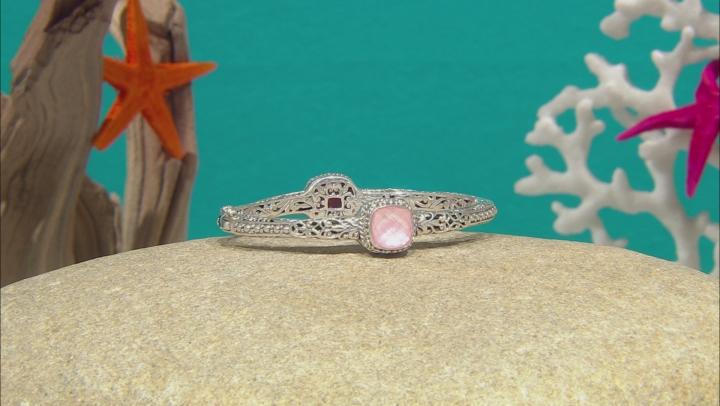Light Pink Quartz Doublet Silver Bangle Bracelet
