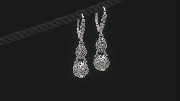 Sterling Silver Watermark Detail Dangle Earrings