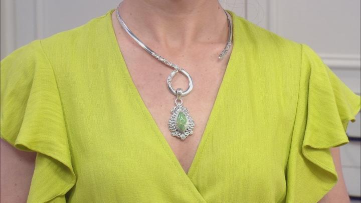 Australian Green Opal Cabochon Sterling Silver Pendant