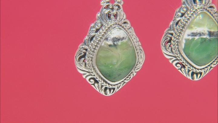 Australian Green Opal Sterling Silver Dangle Earrings