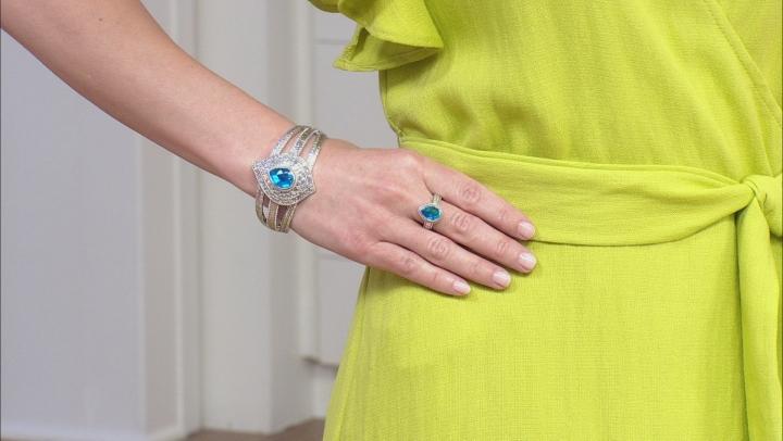 Paraiba Blue Color Rainbow Quartz Triplet Sterling Silver Bracelet