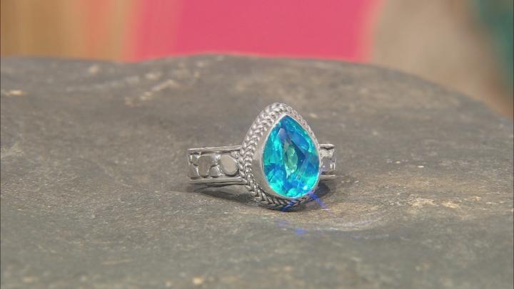 Paraiba Blue Color Rainbow Quartz Triplet Sterling Silver Ring
