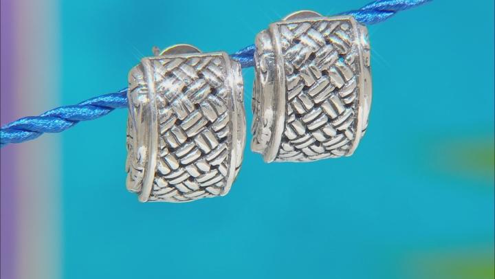 "Sterling Silver ""Special Possession"" Basket Weave Stud Earrings"