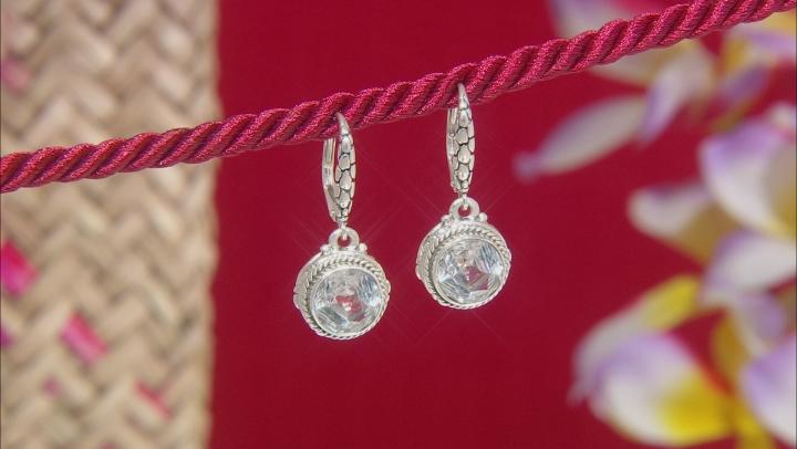 White Quartz Sterling Silver Dangle Earrings 4.70ctw