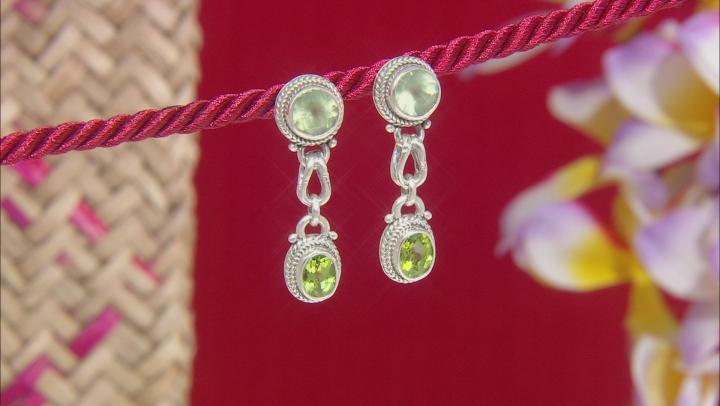Prehnite And Peridot Sterling Silver Dangle Earrings 5.36ctw