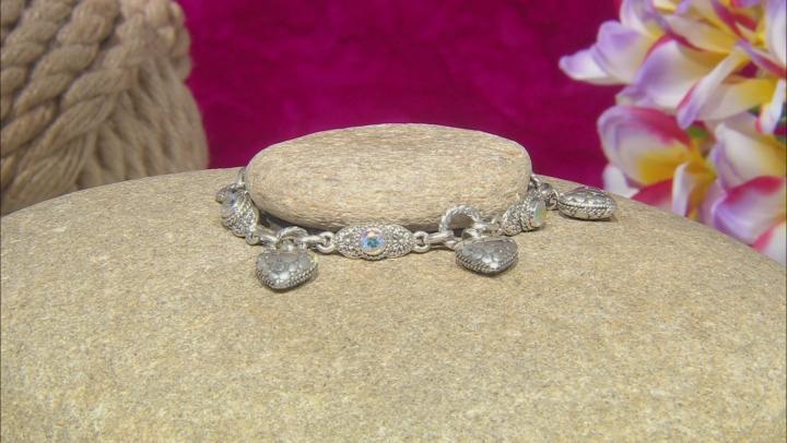 Mercury Mist™ Topaz Sterling Silver Heart Charm Bracelet 1.80ctw