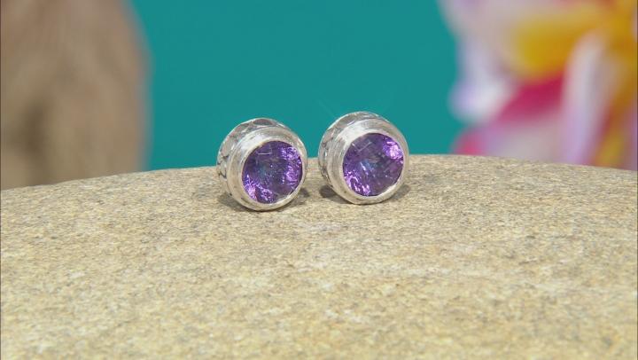 Amethyst Sterling Silver Stud Earrings 2.88ctw