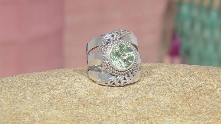 Green Prasiolite Sterling Silver Ring 3.06ct