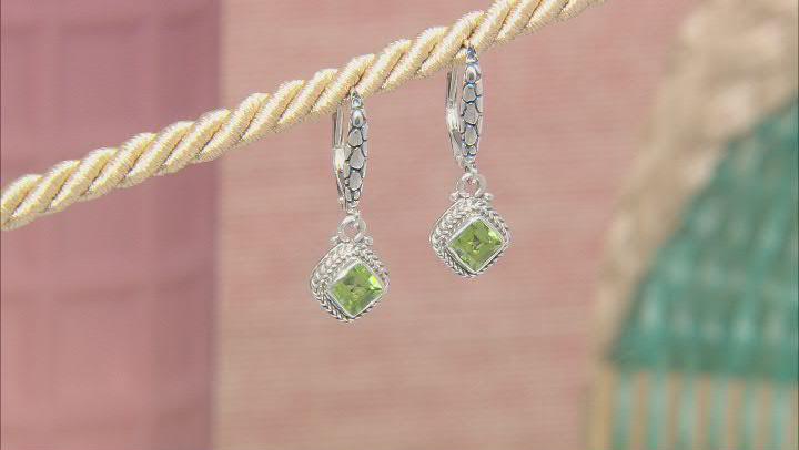 Green Peridot Sterling Silver Earrings 1.22ctw