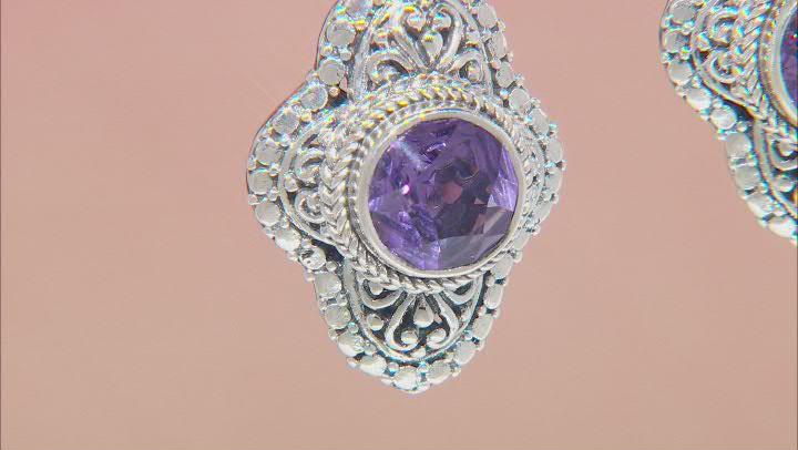 Purple Brazilian Amethyst Sterling Silver Earrings 3.24ctw