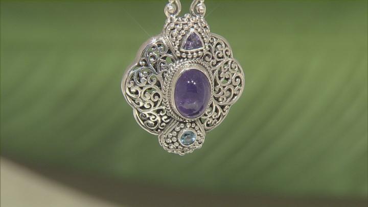 Blue Tanzanite Sterling Silver Pendant .50ctw