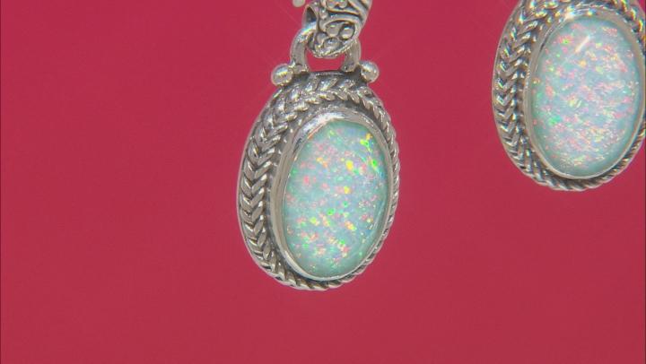 Lab Created Opal Doublet Sterling Silver Dangle Earrings