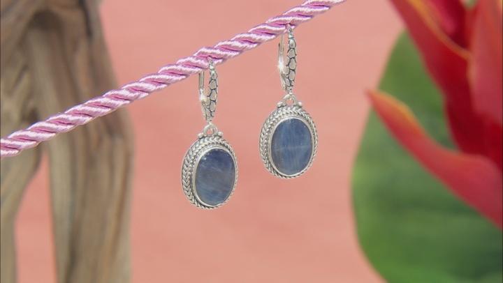 Blue Sapphire Sterling Silver Dangle Earrings 9.24ctw