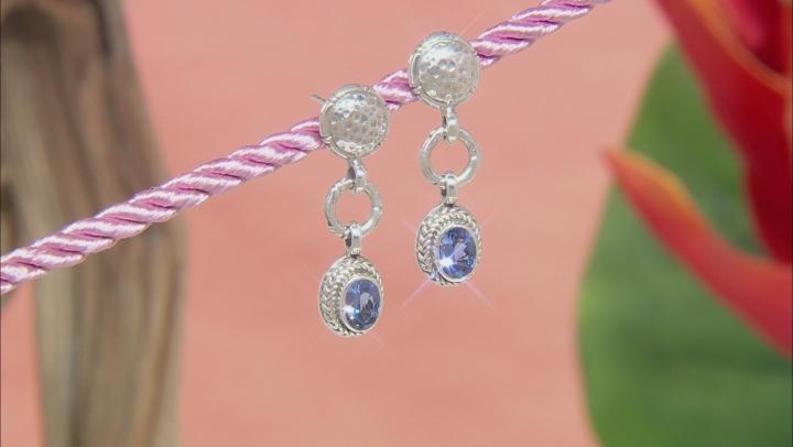 Tanzanite Sterling Silver Dangle Earrings 1.24ctw
