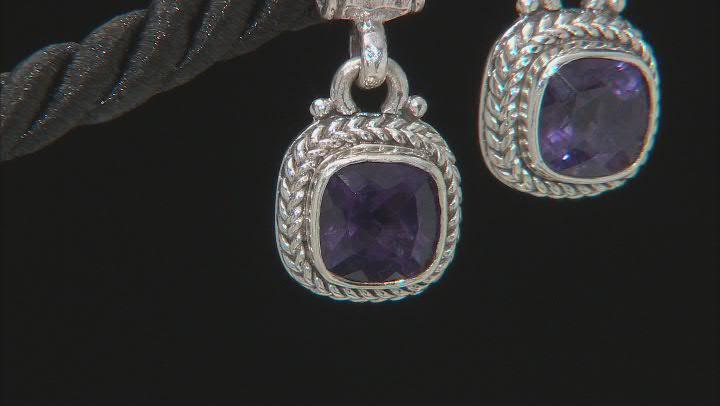 Blueberry Quartz Silver Earrings 2.16ctw